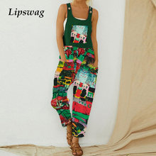 Vintage Abstract Printed Jumpsuit Women Sexy Sleeveless Strappy Bodysuit Romper 2021 Summer Ladies Casual Pocket Loose Playsuit