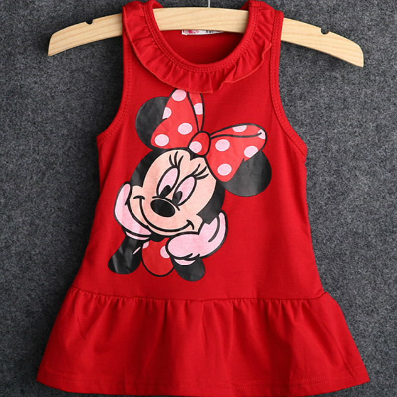 2Pcs Kids Baby Girls Minnie Mouse Sleeveless Cotton Tops+Shorts Cartoon Clothes