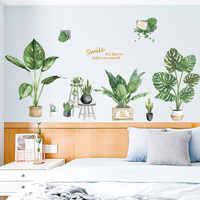 Зеленый в горшках растение стикер на стену дома гостиная свежий и холодный декоративный настенный рисунок наклейки спальня фоновая наклей...