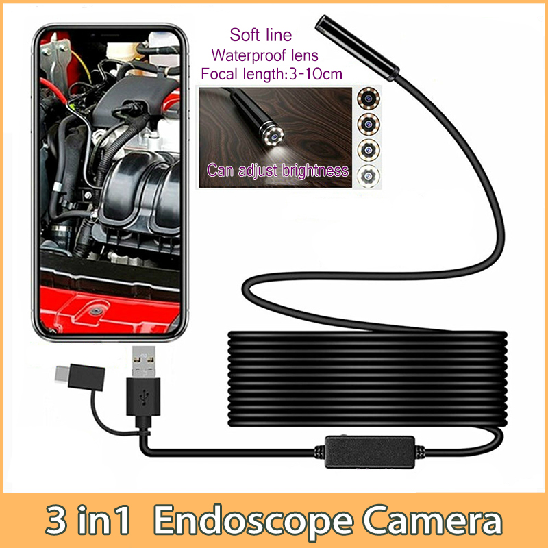 Mini Endoscope Camera Hard-Cable Smartphone Typec Snake Flexible Android 3in1 USB  title=