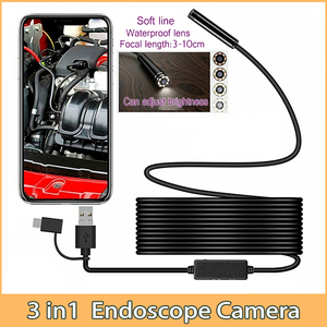 3in1 Typec USB Mini Endoscope Camera 5.5mm/7mm Flexible Hard Cable Snake Borescope Inspection Camera for Android Smartphone PC