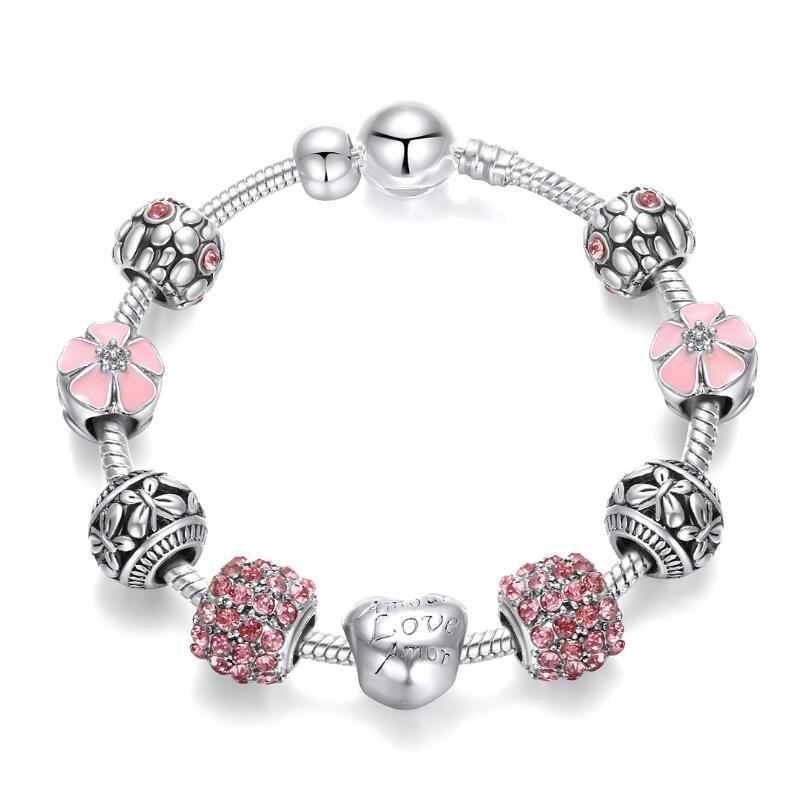 YANHUI 2020 新トレンディ 925 シルバービーズチャームブレスレットピンクの花の花クリスタルチャームブレスレットバングル女性ファッションジュエリー