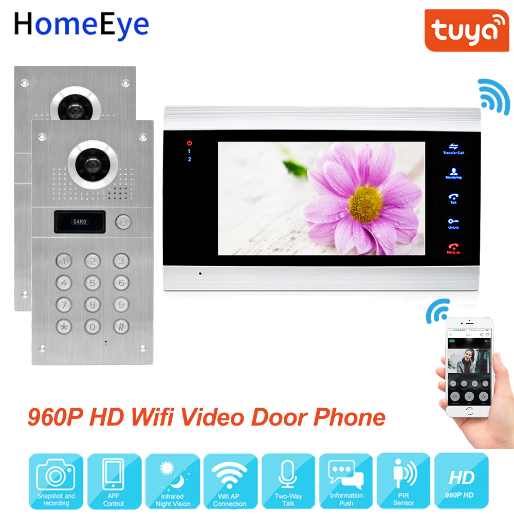Tuya Smart App Remote Control WiFi IP Video Door Phone Video Intercom Access Control System Motion Detection Code Keypad RFID2-1