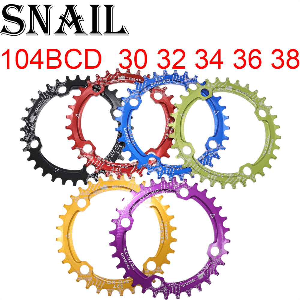 SNAIL 104bcd 32-42T MTB Bicycle Chainring Round//Oval Narrow Wide Chainwheel Gear