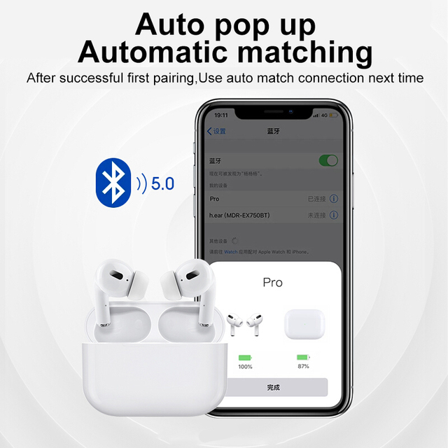 Airpodding pro Bluetooth Earphone Wireless Earbuds Noise Reduction Headphone with mic Sport Headset for Android IOS Smart Phone 4