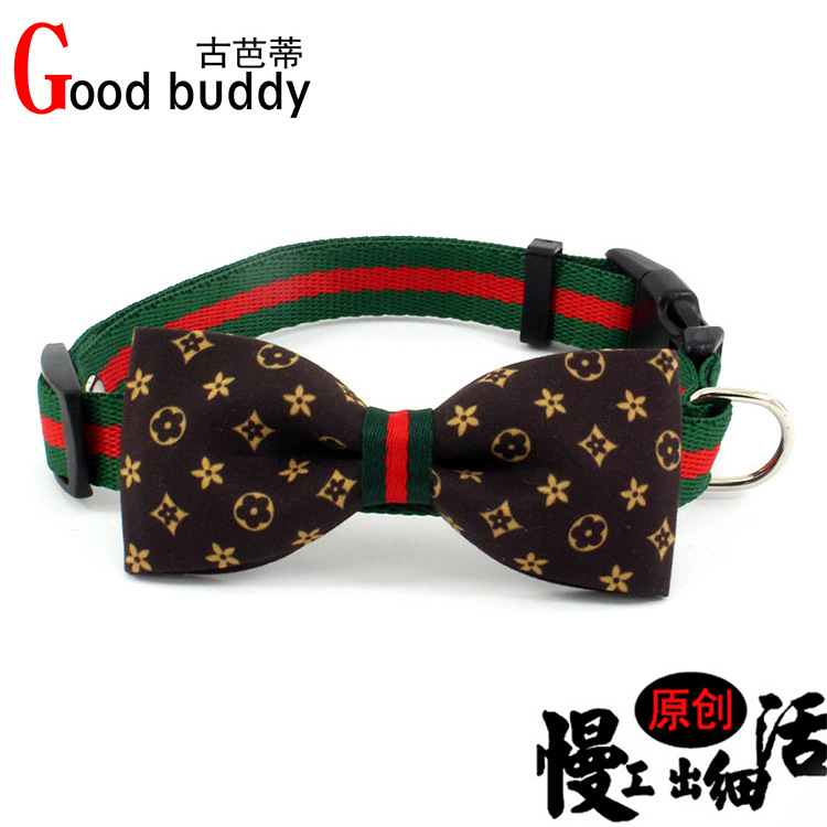 Classic Big Brand Pet Collar Removable Presbyopia Bow Cat Bo Dai Fabric Dog Necklace Nylon Tow Rope