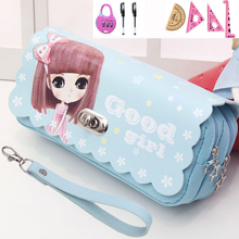 School Pencil case bag Large capacity Kawaii pencil pouch Cartoon princess Stationary Pencil case for girls school supplise 120 slots pencil case large capacity travel portable colored pencil holder pen zipper bag pouch for artist students stationary