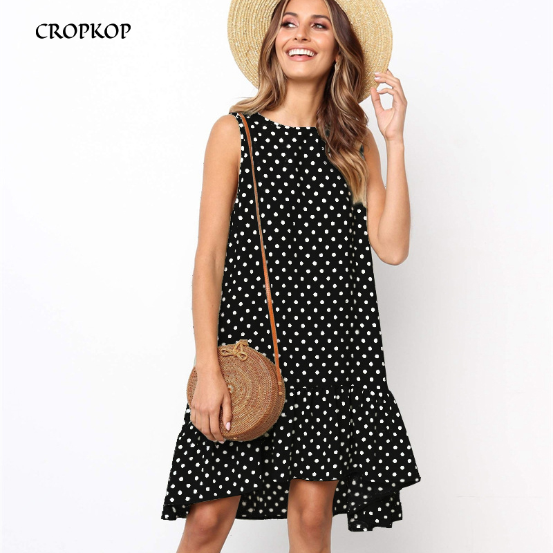 Women Summer Dress Ruffles Polka Dot Sleeveless Mini Dresses Plus Size Casual Loose Black Beach Sundress 2020 Women Clothes
