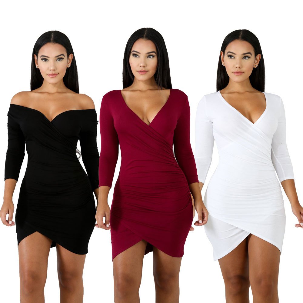 Women Dress Autumn 2019 Solid Color Long Sleeve Sexy High Waist Nightclub Dress Club Dress Women 39 s Clothes in Dresses from Women 39 s Clothing