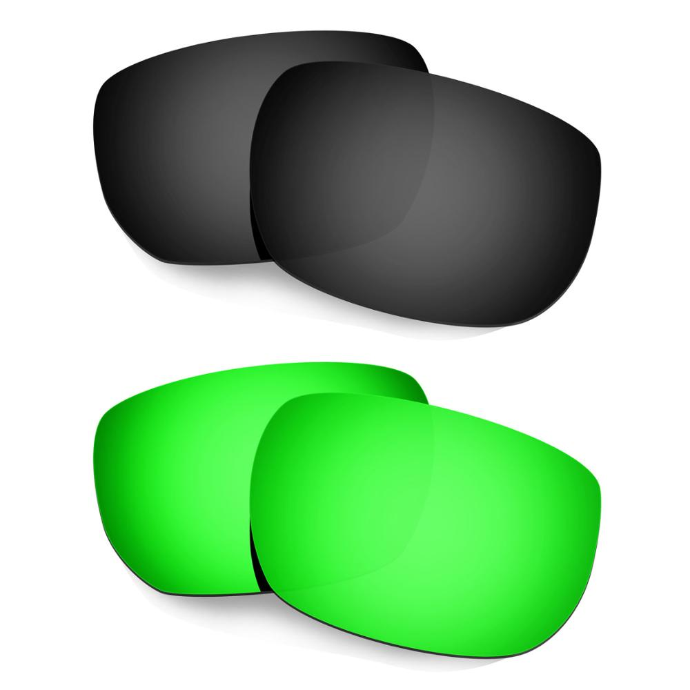 HKUCO For Style Switch Sunglasses Polarized Replacement Lenses 2 Pairs Black & Green