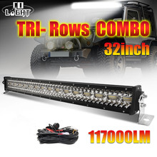 CO LIGHT Super Bright 3-Row 32inch LED Bar 585W Combo Beam LED Light Bar for Trucks Boat Offroad 4WD 4x4 SUV ATV Driving 12V 24V недорого