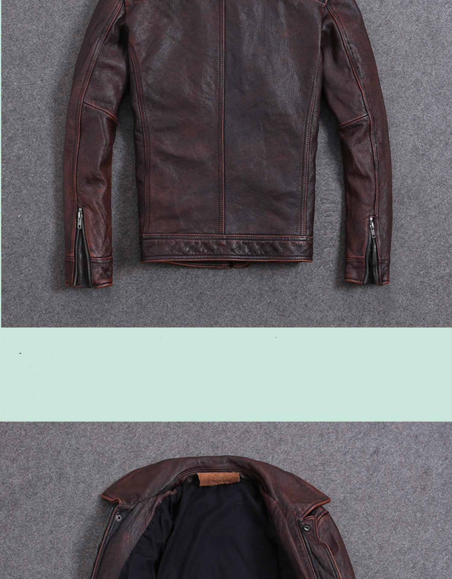 H3705647c134b4b018a8495edc188f404E AYUNSUE Vintage Genuine Cow Leather Jacket Men Plus Size Cowhide Leather Coat Slim Short Jacket Veste Cuir Homme L-Z-14 YY1366