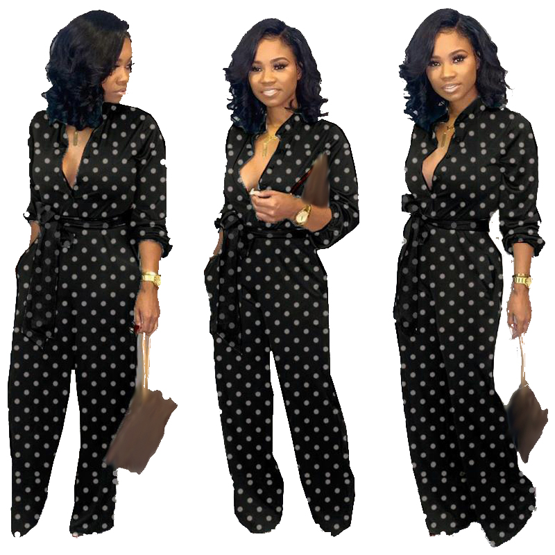 Autumn Womens Long Sleeve Jumpsuit Turn-down Collar Black White Dots Regular Casual Jumpsuits With Lace-up Floor Length Trouser