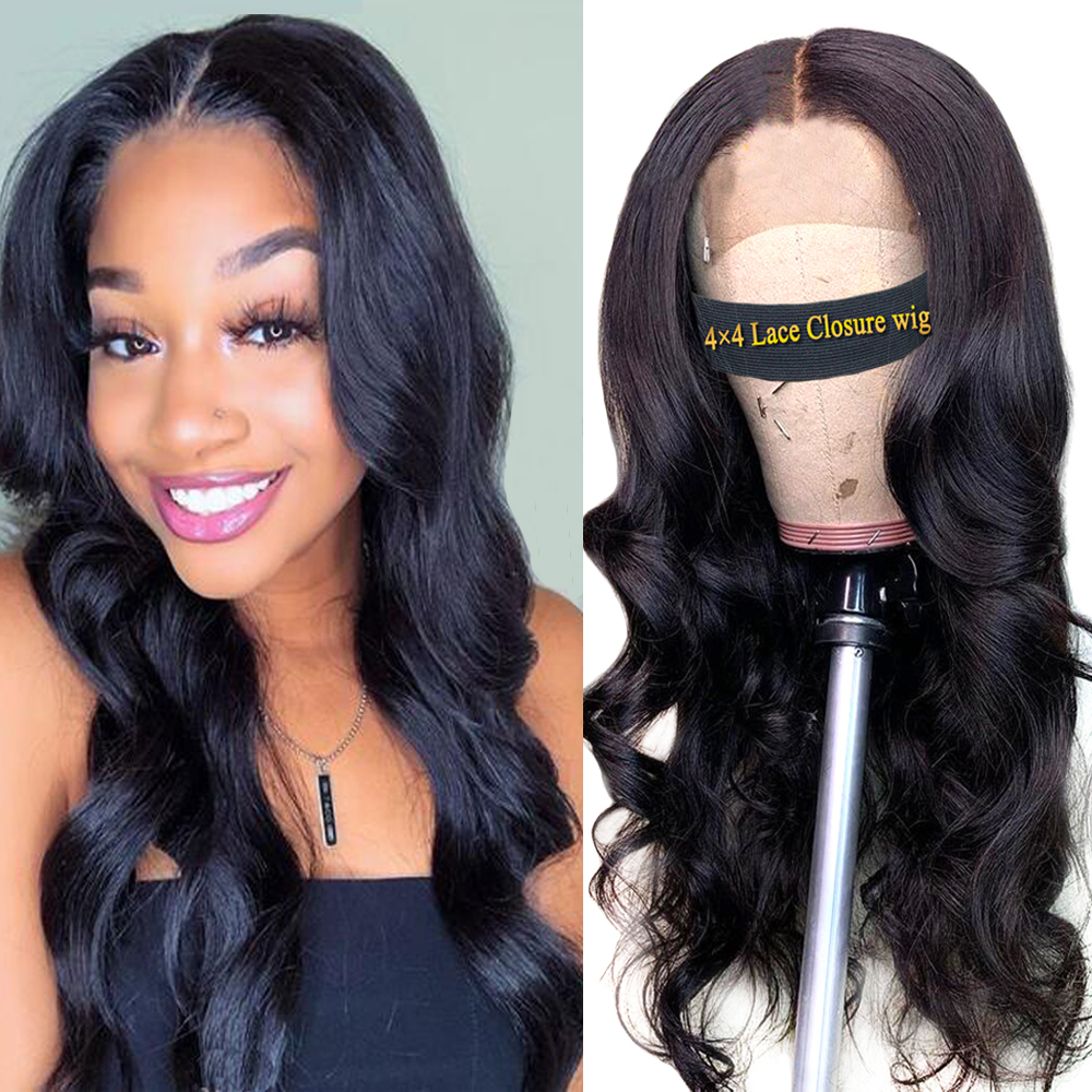 Dorisy Closure Wig Human-Hair-Wig Non-Remy-Hair Lace Body-Wave Black Women Peruvian  title=