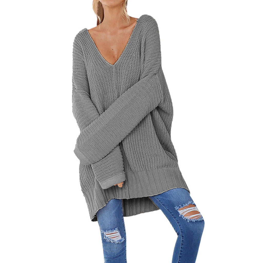 New Sweater Autumn Fashion Women Casual Solid Long Sleeve Jumper V-Neck Lazy Loose Sweater Blouse Sweater Ladies Girls 730