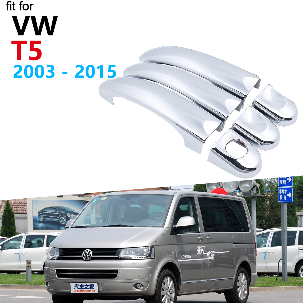Luxurious Chrome Door Handle Cover Trim Set for Volkswagen <font><b>VW</b></font> <font><b>T5</b></font> 2003~2015 Transporter Accessories Car Stickers 2012 2013 2014 image