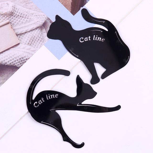 2PCS/set Women Cat Line Pro Eye Makeup Tool Eyeliner Stencils Beauty Eyebrow Template Shaper Model women girl 3