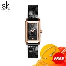 Shengke nova marca superior de luxo relógio feminino retângulo dial elegante quartzo japonês senhoras relógios de pulso à prova dwaterproof água presente reloj mujer