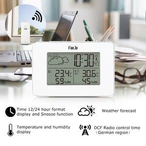 Image 2 - Цифровые часы с будильником FanJu FJ3364W, беспроводной термометр, гигрометр, датчик, светодиодные настольные часы с повтором сигнала, инструменты для метеостанции DCF