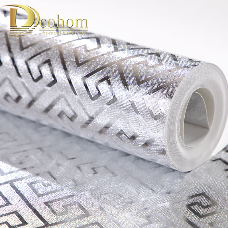 Greek Key Pattern Silver Luxury Wallpaper Home Decor Modern Wall Coverings 10M Roll Metallic Vinyl Glitter Gold Foil Wall Paper