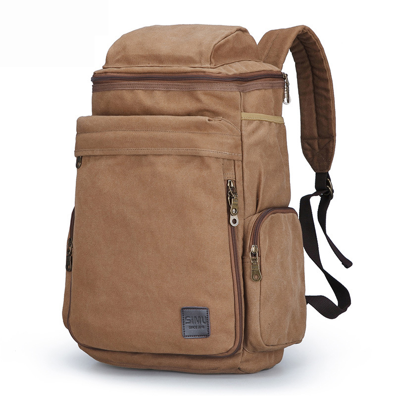 Outdoor Backpack Style Mens Large Capacity Simple Casual Travel Sports-Style Canvas Bag