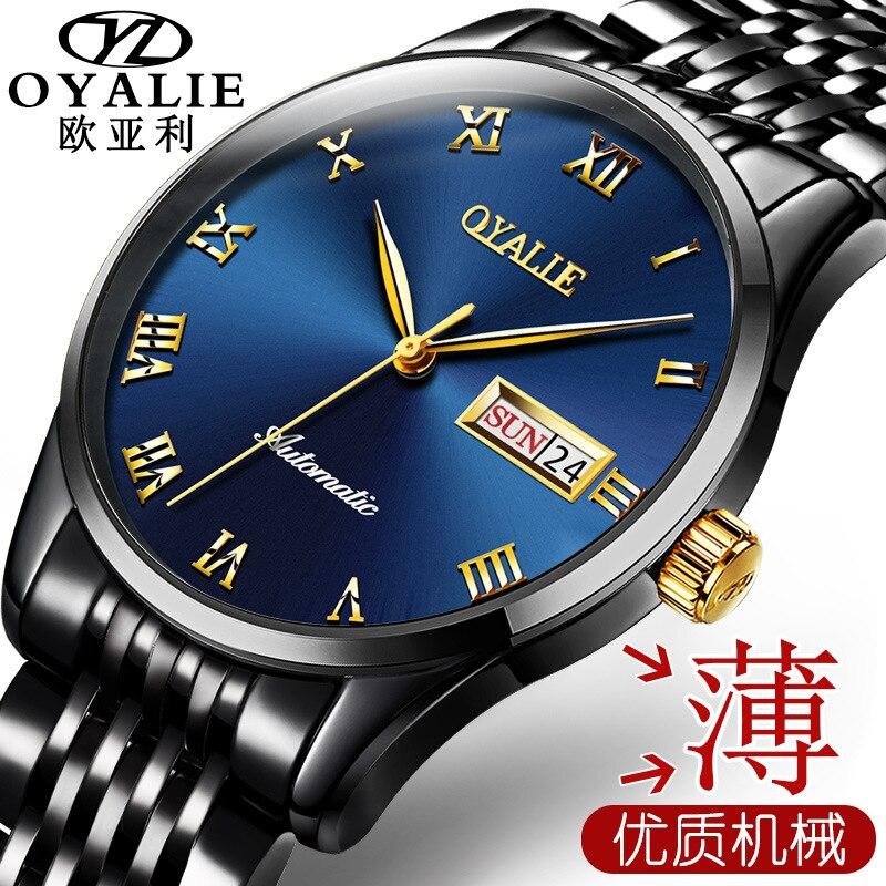 Watch cross-border wholesale full automatic mechanical watch weekly calendar watch waterproof men's watch.