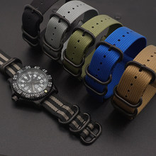 High Quality Premium Nylon Black Rings Wrist Bracelet Band NATO Zulu Watch Strap(China)