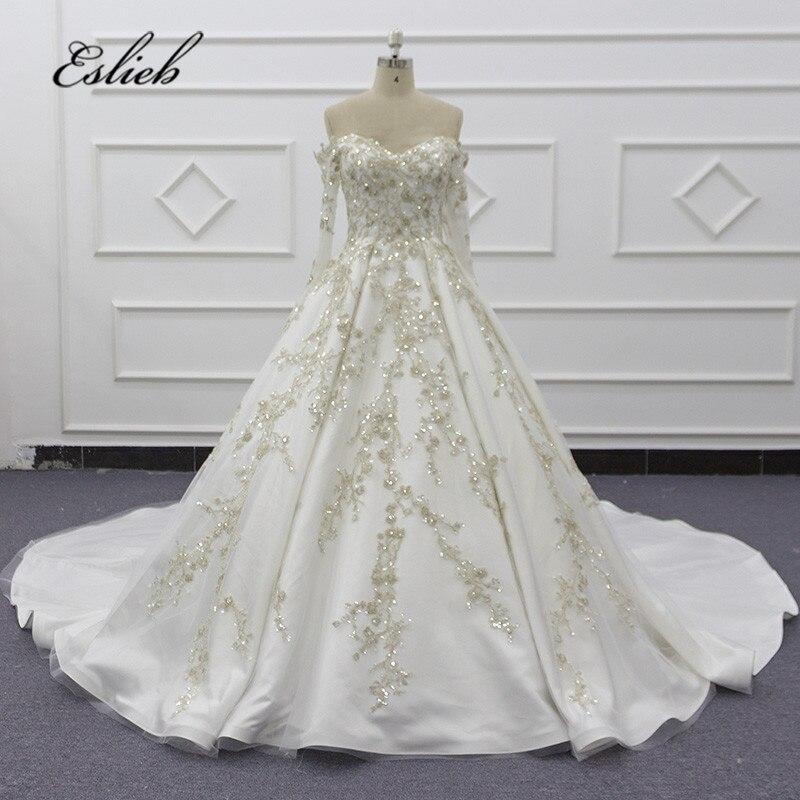 Eslieb Long Sleeves Wedding Dress Custom Made Ball Gown Wedding Dresses 2020 Sweetheart Vestido De Noiva Sj123