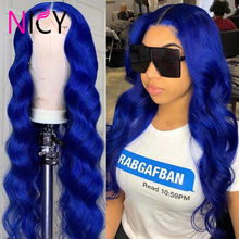 Blue Color Loose Deep Wave Wigs Front Wigs 180 Density 13x4 Lace Front Human Hair Wigs Deep Blue Wave Lace Frontal Wigs