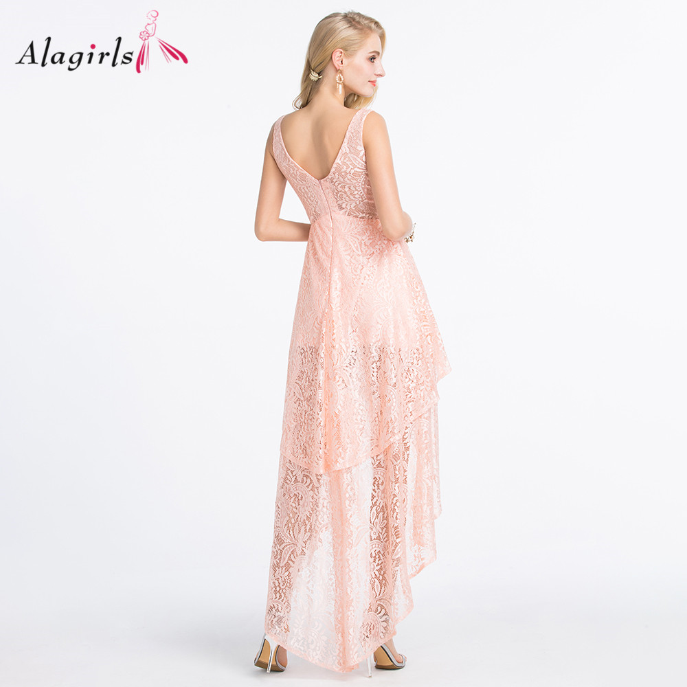 Alagilrs Fashionable high-low lace bridesmaid dress V-neck party gowns 2020 Cute blush robes for women plus size