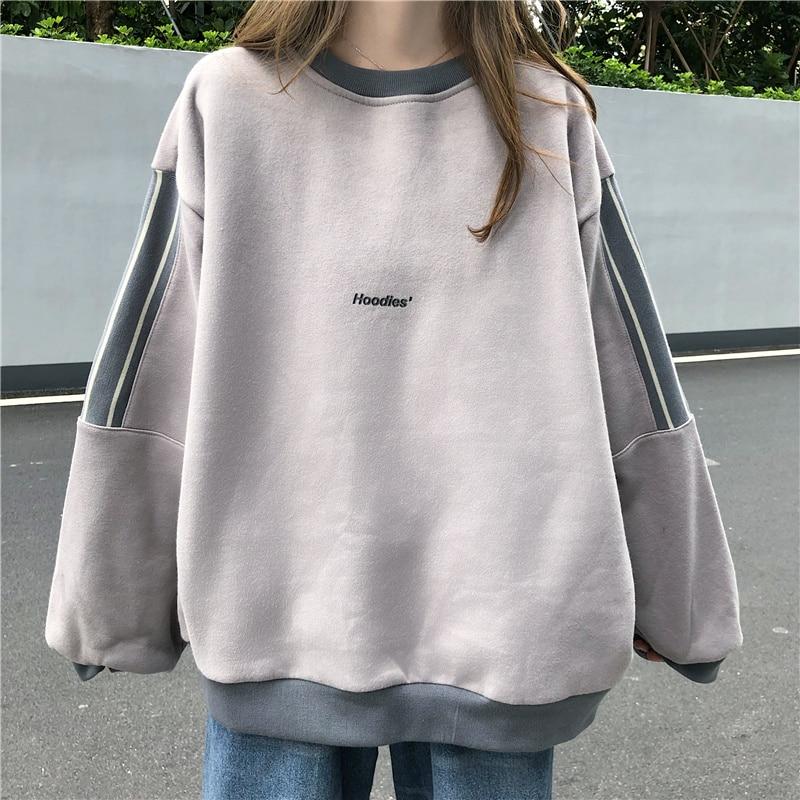 Streetwear Women Sweatshirt Casual Kawaii Print Hoodies Thick Plus Velvet Student Korean Style Harajuku Chic Trendy Popular Tops