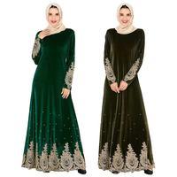 Muslim Embroidery Appliques Women Warm Velvet Abaya Kaftan Long Maxi Dress Cocktail Robes Autumn Winter Gown Ramadan Arab Dress