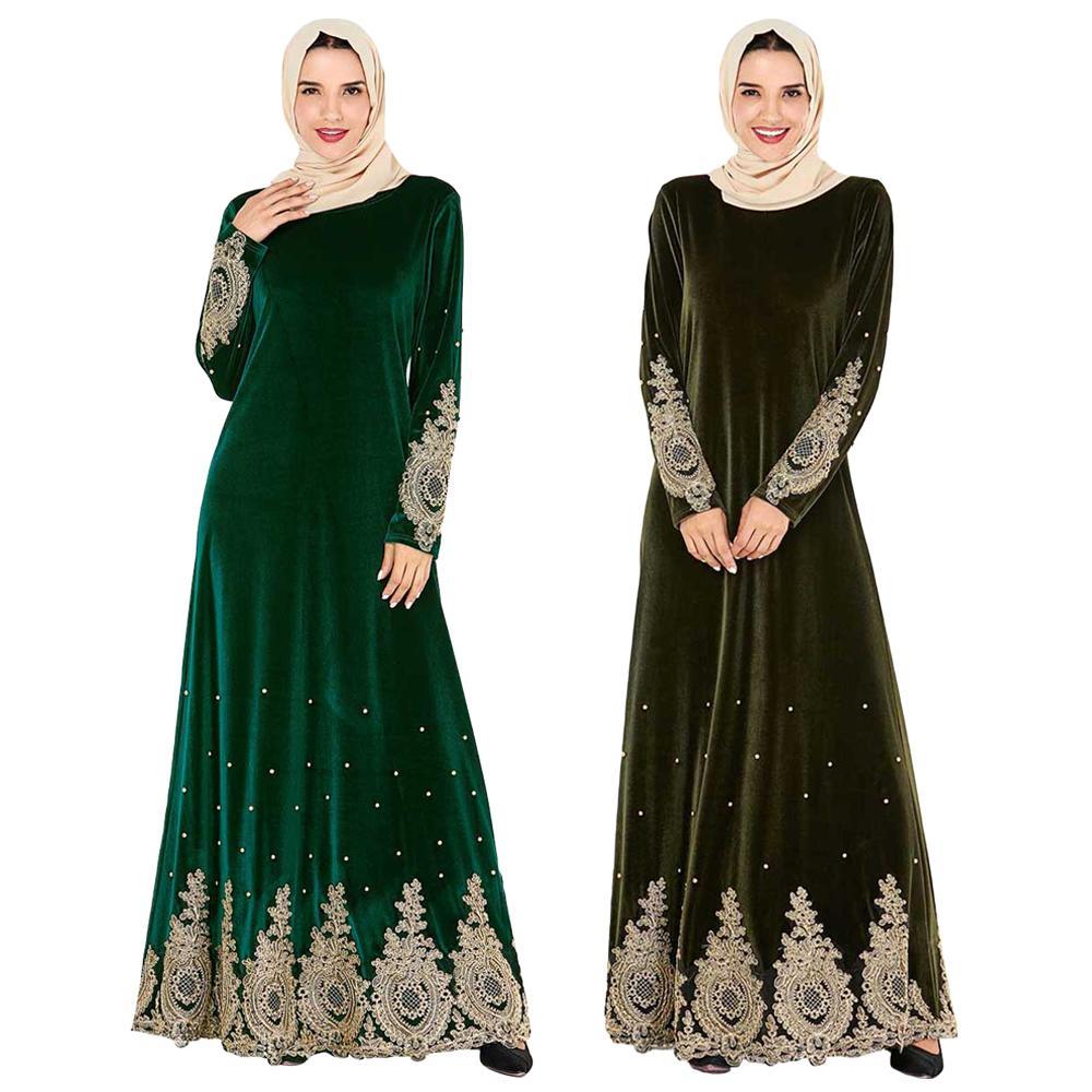 Broderie musulmane Appliques femmes velours chaud Abaya caftan longue robe Maxi Robes de Cocktail automne hiver robe Ramadan robe arabe