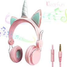 Auriculares con cable de unicornio para mujer cascos de música para niños, Jack de 3,5mm, para videojuegos, teléfono móvil, ordenador, niña, regalos