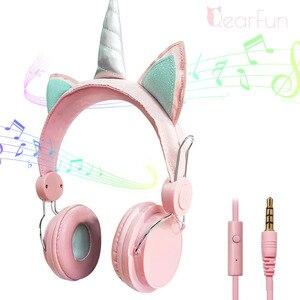 Image 1 - Auriculares con cable de unicornio para mujer cascos de música para niños, Jack de 3,5mm, para videojuegos, teléfono móvil, ordenador, niña, regalos