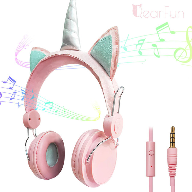 נשים חד קרן Wired אוזניות אוזניות ילדים מוסיקה אוזניות 3.5mm שקע משחקי אוזניות עבור טלפון נייד מחשב ילדה מתנות