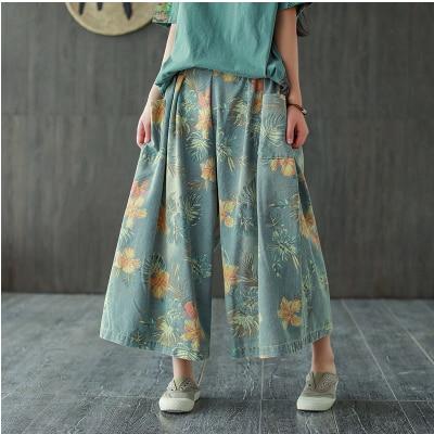 Весна лето 2020, женские джинсы большого размера с эластичной резинкой на талии, свободные джинсовые штаны, новые повседневные женские ретро брюки универсальные с карманами и принтом|Широкие джинсы|   | АлиЭкспресс