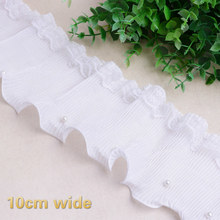 White Chiffon Wrinkle Hand Pearl Beaded Lace Trim Fabric DIY Skirt Neckline Cuff Decorative Curtain Sofa Sewing Accessories NEW
