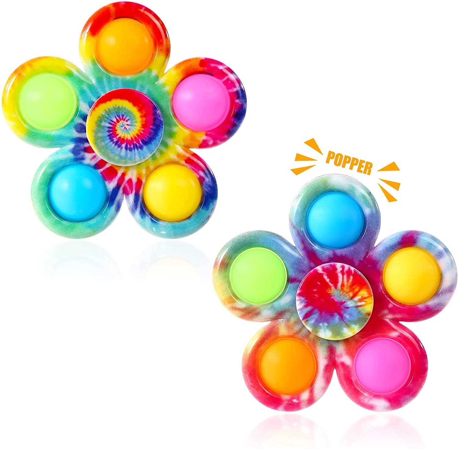 Tie Dye Simple Fidget Spinner Push Pop Bubble Hand Spinner for ADHD Anxiety Stress Relief Bulk Sensory Party Favor for Kids