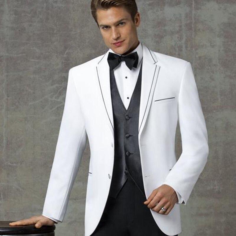 New Arrival White Notched Lapel Wedding Mens Suits Grooms Tuxedos Three Piece Slim Fit Men Suit Groomsmen (Jacket+Pants+Vest)