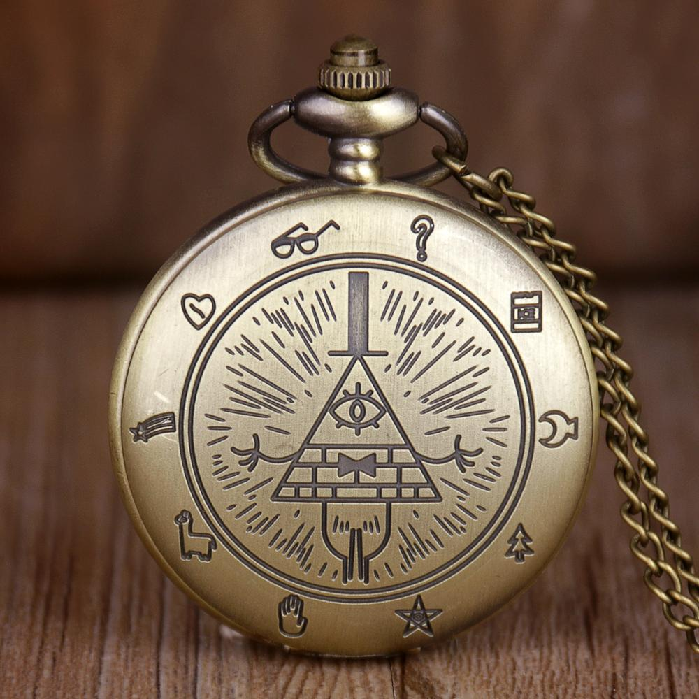 Bronze Vintage Bill Cipher Gravity Falls Quartz Pocket Watch Analog Pendant Necklace Men Women Kid Fob Watches With Chain