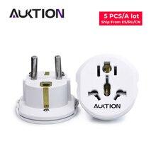 """המכירה הפומבית 5 יח\חבילה 16A אוניברסלי האיחוד האירופי (אירופה) כוח Plug Socket מתאם ממיר מתאם 250V AC נסיעות מטען בארה""""ב בריטניה AU"""