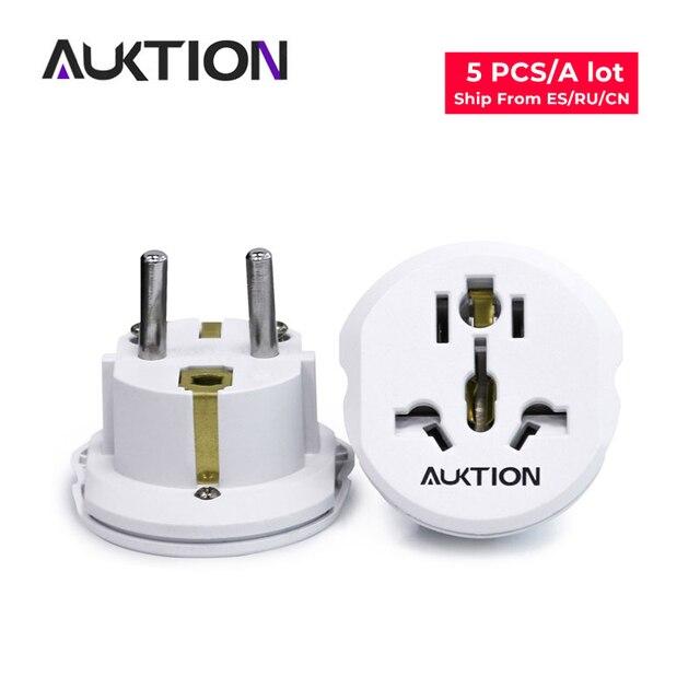 AUKTION 5 Cái/lốc 16A Đa Năng EU (Châu Âu) cắm Điện Ổ Cắm Adapter Chuyển Đổi Nguồn 250V AC Sạc Du Lịch Hoa Kỳ Anh Âu