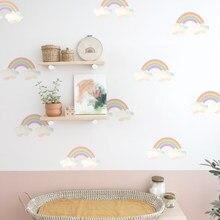 Autocollants muraux en pochoirs arc-en-ciel pour chambre d'enfants, papier peint décoratif pour chambre d'enfants