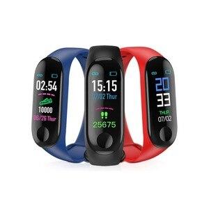Смарт-часы M3 для фитнеса, смарт-браслет с bluetooth, пульсометром, измерением артериального давления, измерением калорий, смарт-браслет, часовой ...