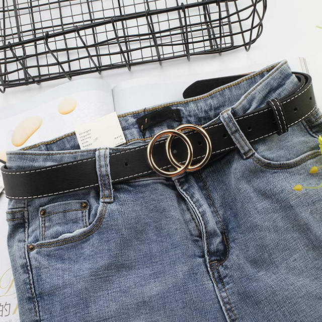 2020 New Women Gold Black Silver Big Double Ring Circle Buckle Belt