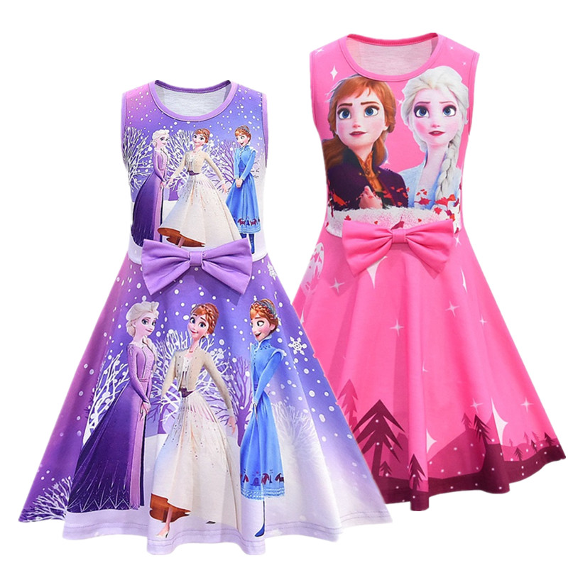 New Girls Snow Queen2 Sleeveless  Vest Dresses Princess Elsa  Cosplay Party Dresses Anna Dress Up Costume Vestidos