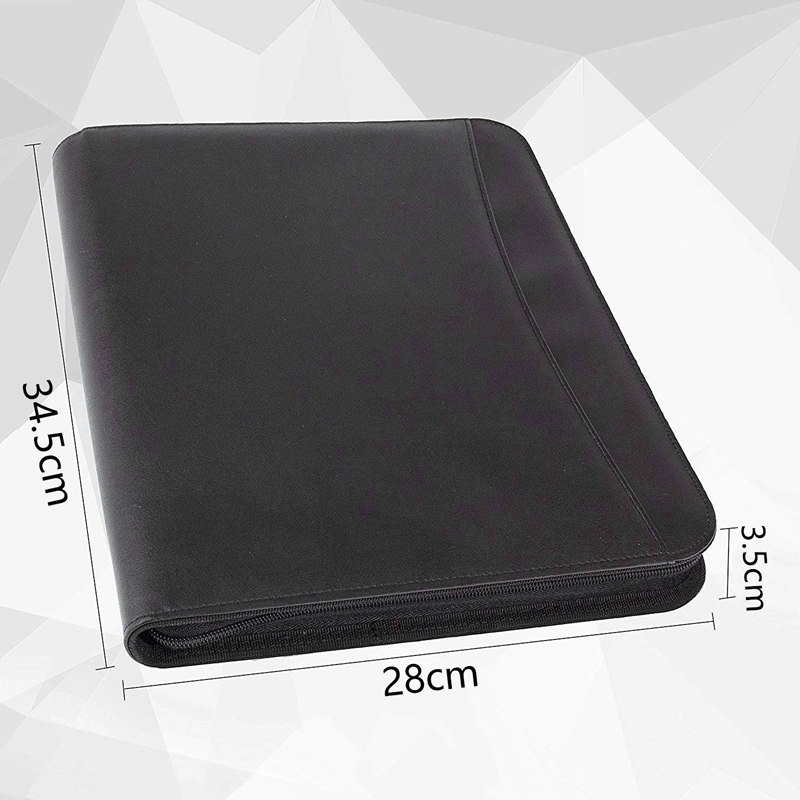 Image 5 - Vegan Leather Folder Zippered Closure Portfolio for Business IPad/Table and Card Interview Resume Binder-in File Folder from Office & School Supplies