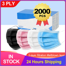 Medical-Mask Disposable Fast-Delivery Face Mouth Blue 3-Layer Pink 7-Color Earloop Elastic