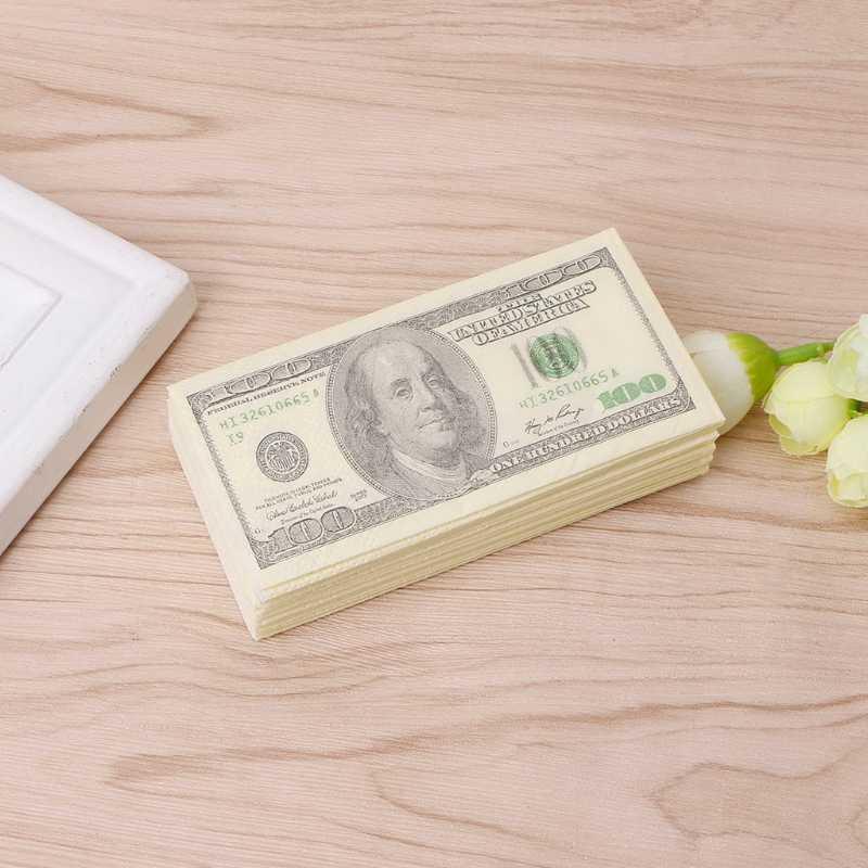 9 Pcs/Pack 3 1 Camadas New Engraçado Da Novidade 100 Dinheiro Dólar Impresso Banho WC Engraçado Papel do Bolso de Tecido partido guardanapos Suprimentos Presente